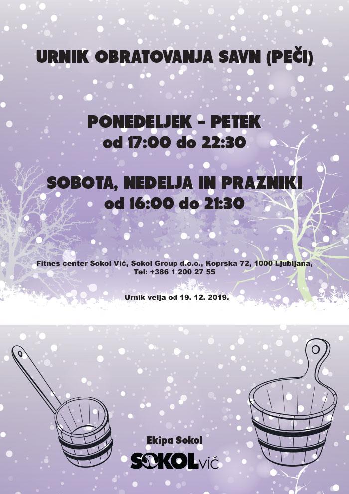Sokol savne - zimski urnik 19. 12. 2019